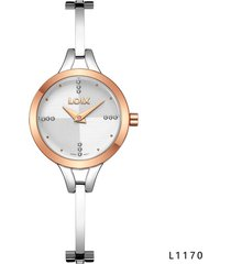 reloj para dama marca loix ref l 1170-03 plateado/oro rosa