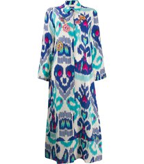 anjuna long printed shirt dress - blue