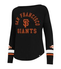 '47 brand san francisco giants women's courtside long sleeve stripe t-shirt