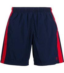 alexander mcqueen side stripe swim shorts - blue