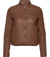 carli thin leather jacket läderjacka skinnjacka brun mdk / munderingskompagniet