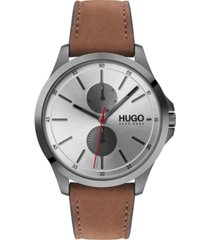 hugo men's #jump brown leather strap watch 40mm