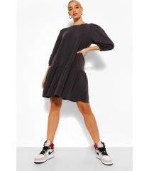 sweatshirt jurk met pofmouwen en losvallende zoom, charcoal