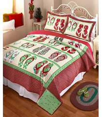 flip flop holiday christmas quilt bedding coastal beach print bedroom home decor