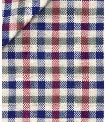 giacca da uomo su misura, lanificio subalpino, blu rossa a quadri, primavera estate | lanieri