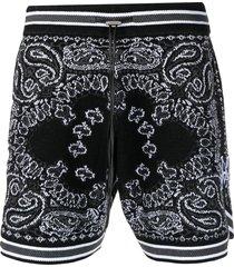 amiri bandana intarsia cashmere shorts - black