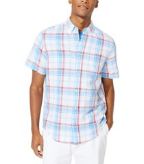 nautica men's blue sail linen plaid shirt, created for macy's