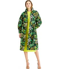 inc floral-print twill trench coat, created for macy's