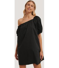 na-kd trend one shoulder cotton dress - black
