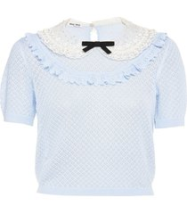 miu miu peter pan lace collar knitted top - grey