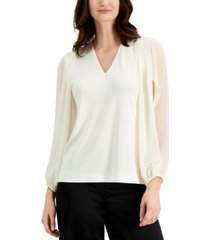 alfani petite solid pleat v-neck top, created for macy's