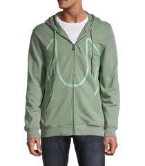 true religion men's logo front-zip hoodie - crimson - size xxl