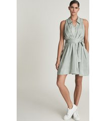 reiss carlotta - button through mini dress in sage, womens, size 14