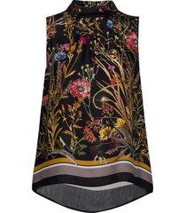 3417 - prosa top blouse mouwloos zwart sand