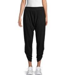 michael lauren women's shirred cotton-blend pants - black - size xs