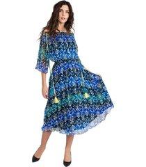 blue off shoulder dress with flowers