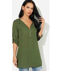cremallera con cuello de pico verde diseño manga ajustable longitud blusa