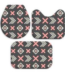 kit 3 tapetes decorativos para banheiro abstrato multicolorido - marrom - dafiti