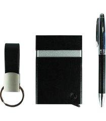 kit stradda executivo porta cartão rfid + chaveiro e caneta