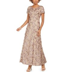 alex evenings rosette a-line gown