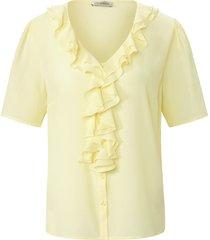 blouse met korte mouwen en v-hals van uta raasch geel