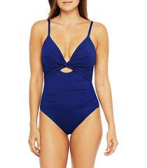 la blanca women's island goddess twist front one-piece swimsuit - black - size 14