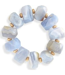 women's halogen semi-precious stone & bead stretch bracelet