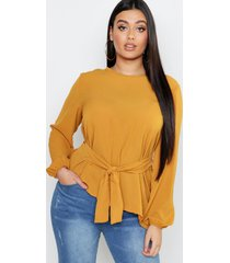 plus top met strik, mustard
