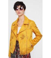 floral biker jacket - yellow - 46