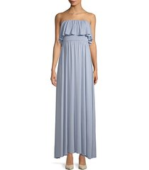sienna strapless ruffled maxi dress