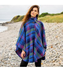 hourihan 100% pure new wool donegal tweed irish cape blue check