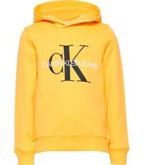 monogram hoodie hoodie trui geel calvin klein