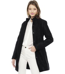 abrigo desigual negro - calce regular
