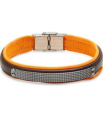stainless steel, leather & nylon bracelet