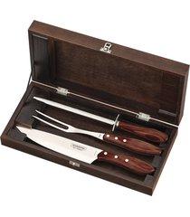 kit para churrasco tramontina em aço inox cabo vermelho polywood com estojo de madeira 4 peças 21198764