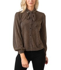 black label women's plus size metallic button down collared knit top with tie-neck