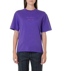 acne studios purple cotton logo t-shirt