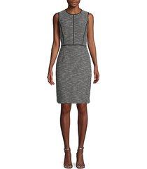 heathered cotton-blend sheath dress