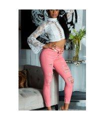 sexy skinny hoge taille jeans gebruikte used look koraal-kleurig