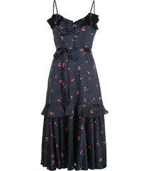milly cherry print midi dress - blue