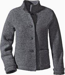 korte jas uit walkstof met bio-katoen, antracietgrijs 36