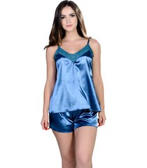short doll  yasmin lingerie silk satin verde/pavã£o - azul - feminino - dafiti