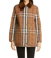 women's burberry check quilted barn jacket, size xx-small - brown