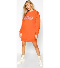 embroidered state oversized sweatshirt dress, orange