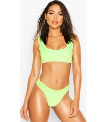 velvet crop bikini, neon-green