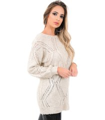 blusa feminina livora losângulo tricot mousse creme