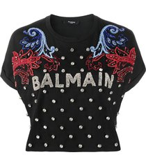 balmain crystal-embellished logo-detail t-shirt - black