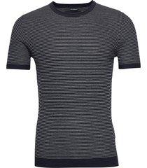 sweater tee stickad tröja m. rund krage blå abercrombie & fitch