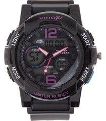 reloj negro-fucsia virox