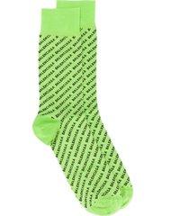 balenciaga logo-embroidered socks - green